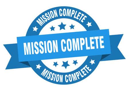 mission complete ribbon. mission complete round blue sign. mission complete Ilustração