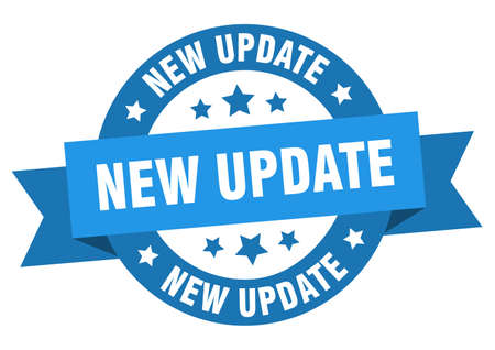 new update ribbon. new update round blue sign. new update