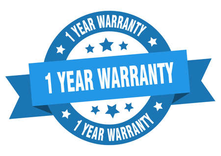 1 year warranty ribbon. 1 year warranty round blue sign. 1 year warranty Banco de Imagens - 129645910
