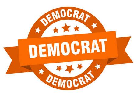 democrat ribbon. democrat round orange sign. democrat Stock Illustratie