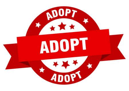 adopt ribbon. adopt round red sign. adopt