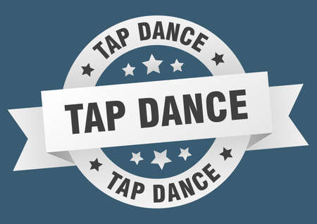 tap dance ribbon. tap dance round white sign. tap dance