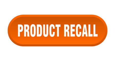 product recall button. product recall rounded orange sign. product recall