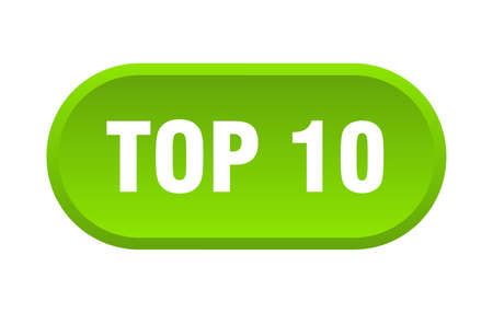 top 10 button. top 10 rounded green sign. top 10  イラスト・ベクター素材