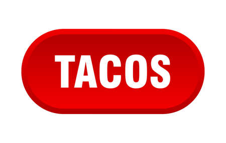 tacos button. tacos rounded red sign. tacos