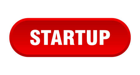 startup button. startup rounded red sign. startup