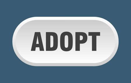 adopt button. adopt rounded white sign. adopt