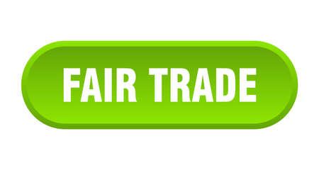 fair trade button. fair trade rounded green sign. fair trade