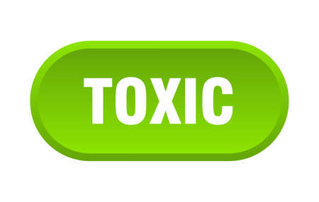 toxic button. toxic rounded green sign. toxic