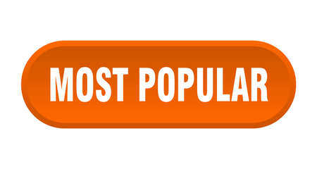 most popular button. most popular rounded orange sign. most popular 向量圖像