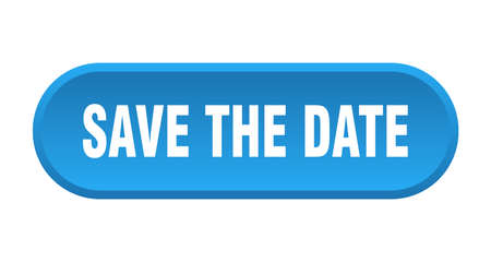 save the date button. save the date rounded blue sign. save the date 向量圖像
