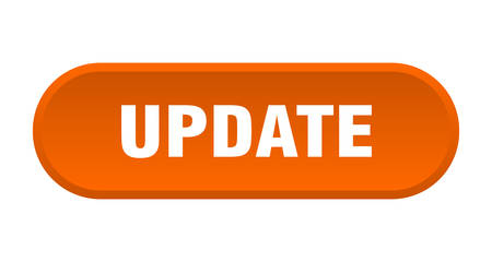 update button. update rounded orange sign. update