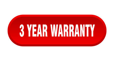 3 year warranty button. 3 year warranty rounded red sign. 3 year warranty