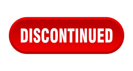 discontinued button. discontinued rounded red sign. discontinued