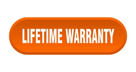 lifetime warranty button. lifetime warranty rounded orange sign. lifetime warranty