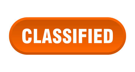 classified button. classified rounded orange sign. classified 일러스트