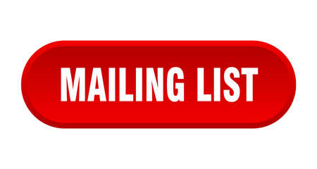 mailing list button. mailing list rounded red sign. mailing list