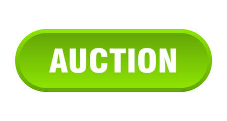 auction button. auction rounded green sign. auction