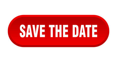 save the date button. save the date rounded red sign. save the date