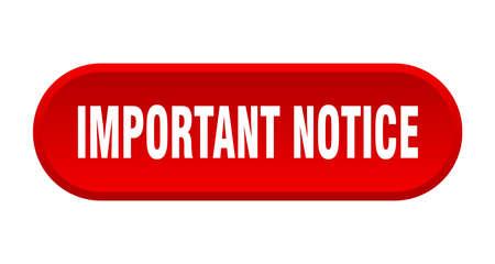 important notice button. important notice rounded red sign. important notice Ilustração Vetorial