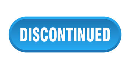discontinued button. discontinued rounded blue sign. discontinued