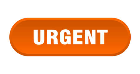 urgent button. urgent rounded orange sign. urgent