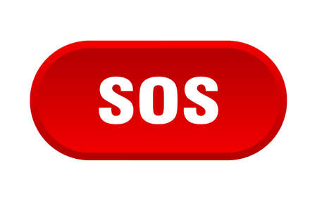 sos button. sos rounded red sign. sos