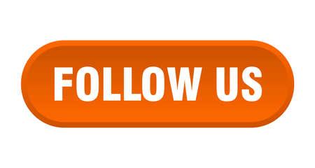 follow us button. follow us rounded orange sign. follow us