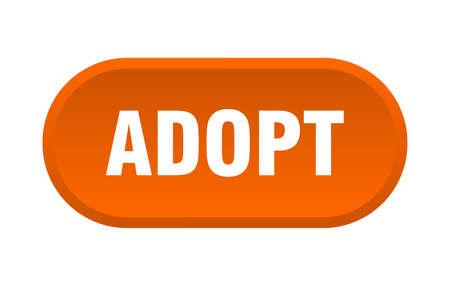 adopt button. adopt rounded orange sign. adopt