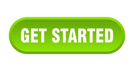 Schaltfläche zum Starten. Beginnen Sie mit dem abgerundeten grünen Schild. loslegen
