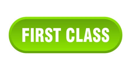 first class button. first class rounded green sign. first class Illusztráció