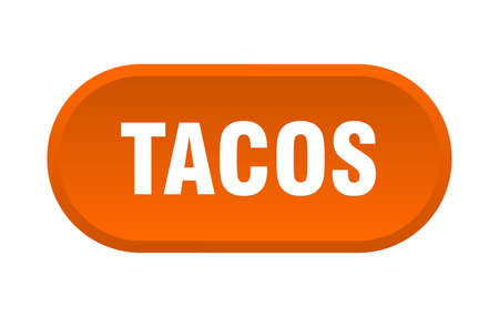 tacos button. tacos rounded orange sign. tacos