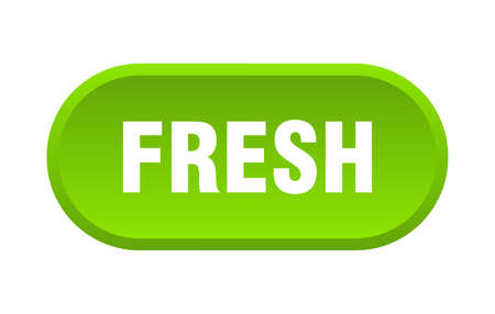 fresh button. fresh rounded green sign. fresh
