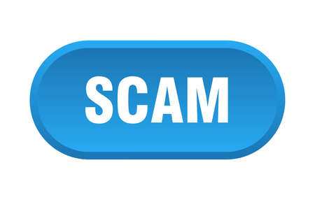 scam button. scam rounded blue sign. scam