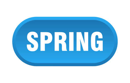 spring button. spring rounded blue sign. spring