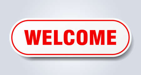 welcome sign. welcome rounded red sticker. welcome Çizim
