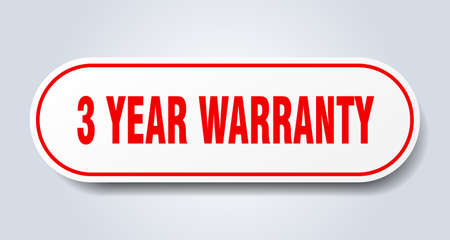 3 year warranty sign. 3 year warranty rounded red sticker. 3 year warranty