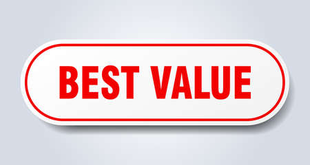 best value sign. best value rounded red sticker. best value  イラスト・ベクター素材