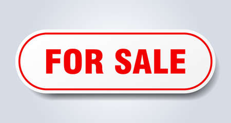 for sale sign. for sale rounded red sticker. for sale