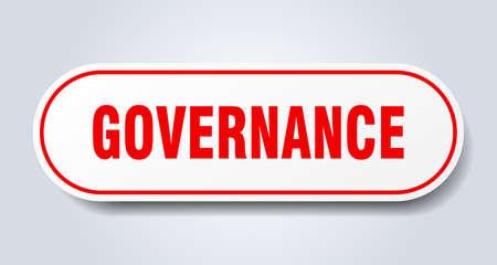 governance sign. governance rounded red sticker. governance