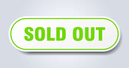 sold out sign. sold out rounded green sticker. sold out