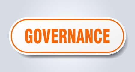 governance sign. governance rounded orange sticker. governance