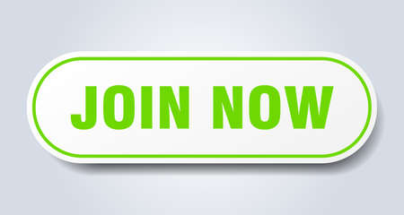join now sign. join now rounded green sticker. join now