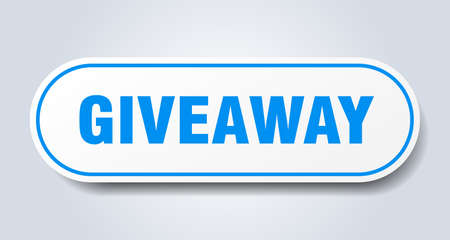 giveaway sign. giveaway rounded blue sticker. giveaway