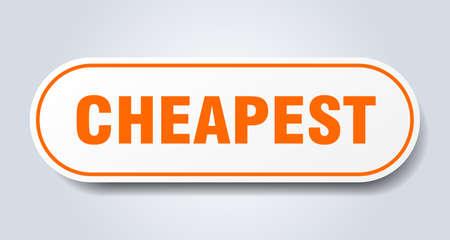 cheapest sign. cheapest rounded orange sticker. cheapest Ilustración de vector