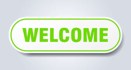 welcome sign. welcome rounded green sticker. welcome Çizim