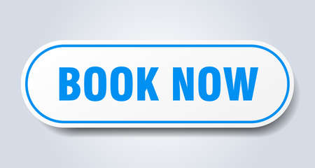 book now sign. book now rounded blue sticker. book now