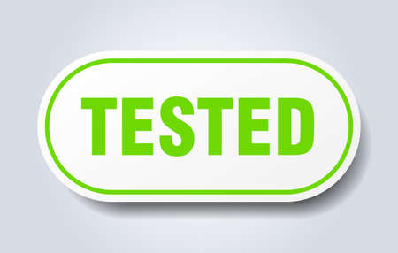 tested sign. tested rounded green sticker. tested Stockfoto - 129919370