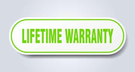 lifetime warranty sign. lifetime warranty rounded green sticker. lifetime warranty Illustration