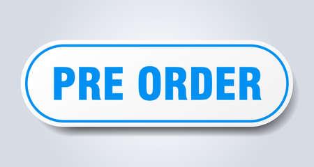 pre order sign. pre order rounded blue sticker. pre order Banque d'images - 129921106